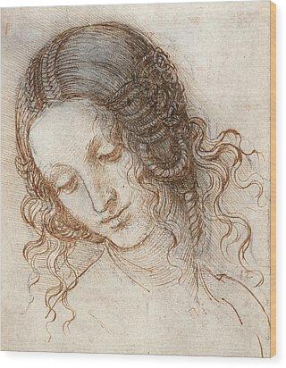 Leonardo Head Of Woman Drawing Wood Print by