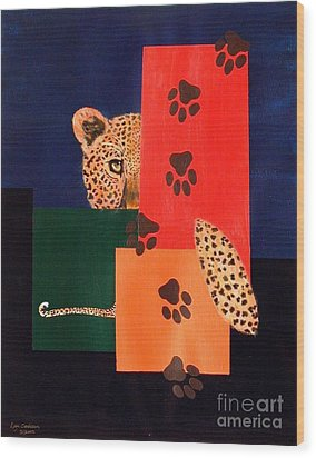 Leopard And Paws Wood Print