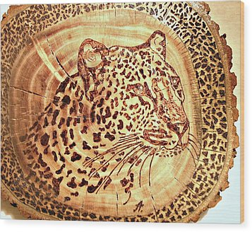 Leopard Wood Print by Art  Pyrography