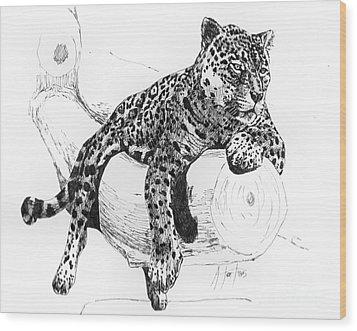 Leopard At Rest  Wood Print
