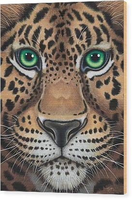 Wild Eyes Leopard Face Wood Print by Tish Wynne