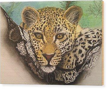 Leopard In A Tree I. Wood Print by Paula Steffensen