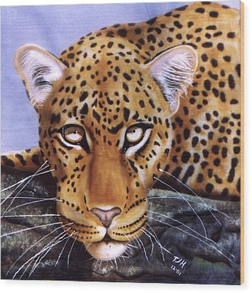 Leopard In A Tree Wood Print by Thomas J Herring