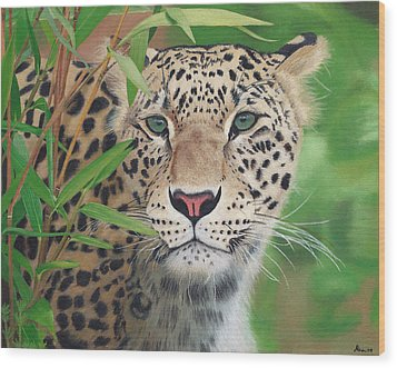 Leopard In The Woods Wood Print by Alina Kaplanov