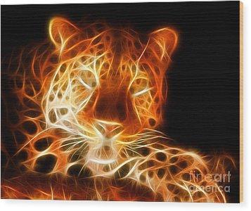 Leopard Intimidating Look Wood Print by Pamela Johnson