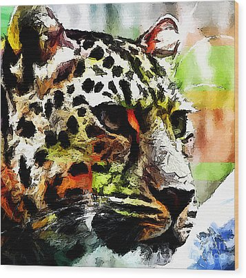 Wood Print featuring the painting Leopard - Leopardo by Zedi