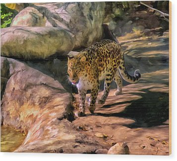 Wood Print featuring the painting Leopard by Michael Pickett