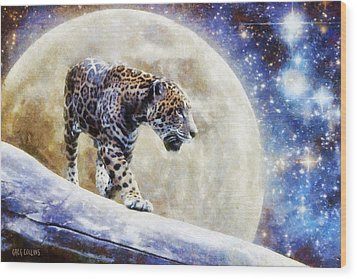 Leopard Moon Wood Print by Greg Collins