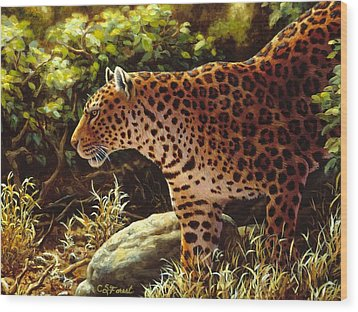 Leopard Painting - On The Prowl Wood Print by Crista Forest