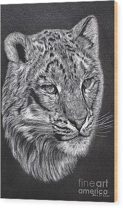 Wood Print featuring the pastel Adams Leopard - Pastel by Adam Olsen
