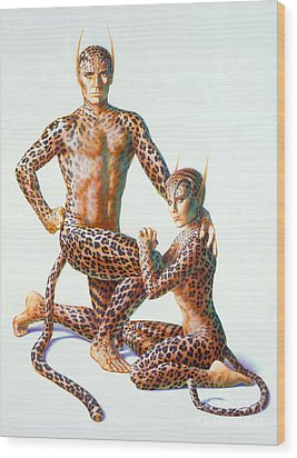 Leopard People Wood Print by Andrew Farley