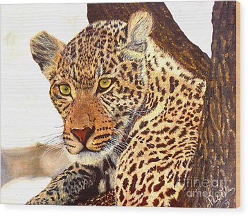 Leopard Point Of View Wood Print