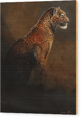 Wood Print featuring the digital art Leopard Portrait by Aaron Blaise
