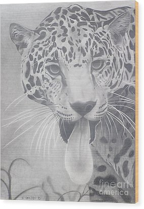 Wood Print featuring the drawing Leopard by Wil Golden