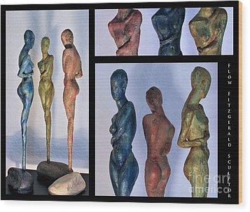 Les Filles De L'asse 1 Triptic Collage Wood Print by Flow Fitzgerald