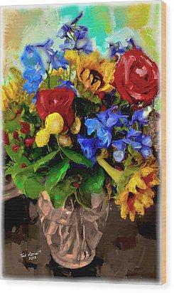 Les Fleurs Wood Print by Ted Azriel