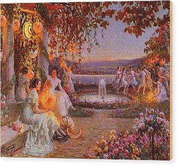 Wood Print featuring the painting Les Lampions   by Delphin Enjolras