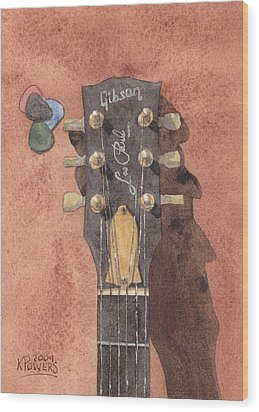 Les Paul Wood Print by Ken Powers