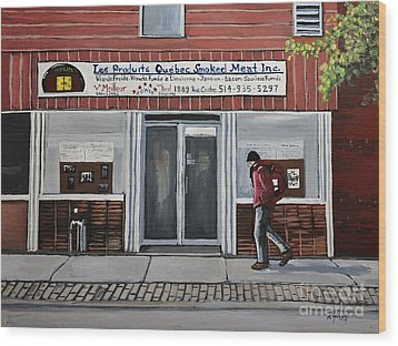 Les Produits Quebec Smoked Meat Inc Wood Print by Reb Frost
