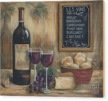 Les Vins Wood Print by Marilyn Dunlap