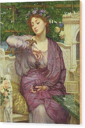 Lesbia And Her Sparrow Wood Print by Sir Edward John Poynter