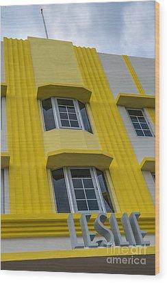 Leslie Hotel South Beach Miami Art Deco Detail 2 Wood Print by Ian Monk