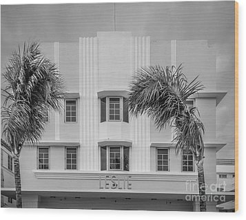Leslie Hotel South Beach Miami Art Deco Detail 3 - Black And White Wood Print by Ian Monk