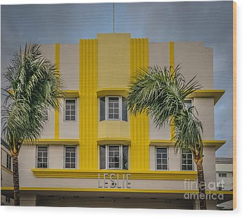 Leslie Hotel South Beach Miami Art Deco Detail 3 - Hdr Style Wood Print by Ian Monk