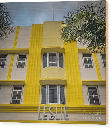 Leslie Hotel South Beach Miami Art Deco Detail - Square - Hdr St Wood Print by Ian Monk