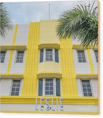 Leslie Hotel South Beach Miami Art Deco Detail - Square Wood Print by Ian Monk