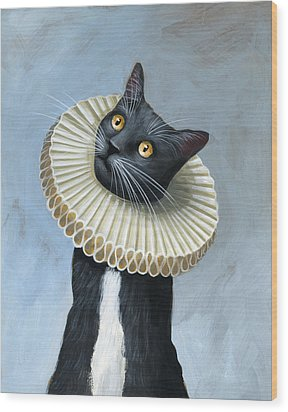 Less Is More ... Tuxedo Cat Art Painting Wood Print