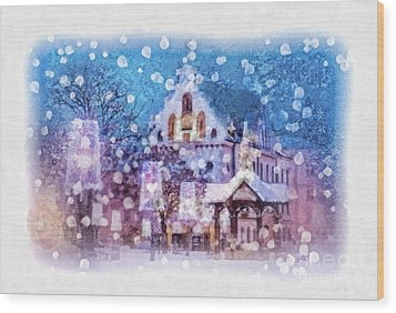 Let It Snow Wood Print by Mo T