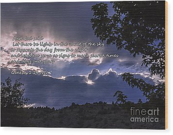 Let There Be Light Wood Print by Janice Rae Pariza