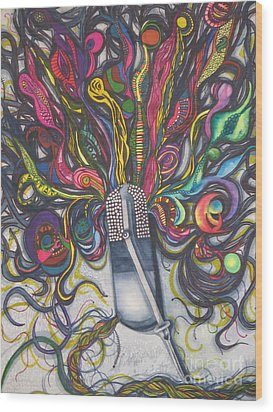 Wood Print featuring the painting Let Your Music Flow In Harmony by Chrisann Ellis