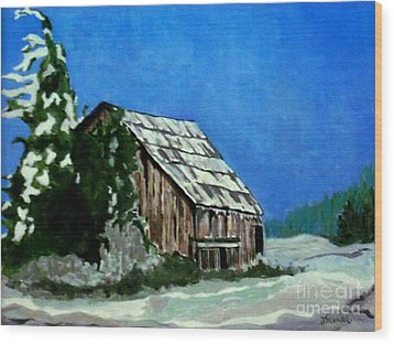 Wood Print featuring the painting L'etable  The Barn by Joyce Gebauer