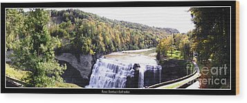 Letchworth State Park Middle Falls Panorama Wood Print by Rose Santuci-Sofranko