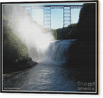 Letchworth State Park Upper Falls And Railroad Trestle Wood Print by Rose Santuci-Sofranko