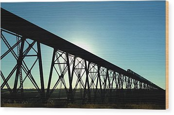 Wood Print featuring the photograph Lethbridge Viaduct Silhouette by Trever Miller
