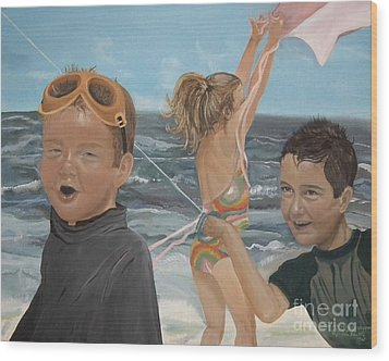 Wood Print featuring the painting Beach - Children Playing - Kite by Jan Dappen