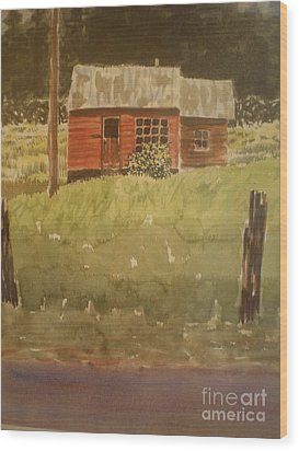 Wood Print featuring the painting Let's Move In by Suzanne McKay