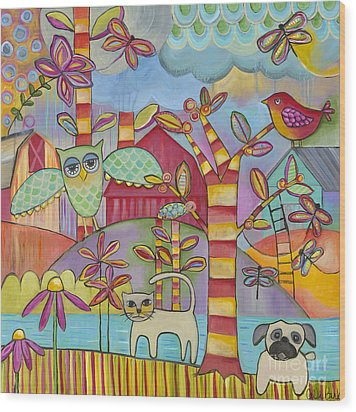 Let's Play Wood Print by Carla Bank