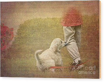 Let's Play Wood Print by Jayne Carney