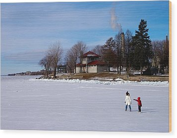 Let's Skate Way Out There Wood Print by Paul Wash