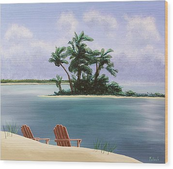 Let's Swim Out To The Island Wood Print