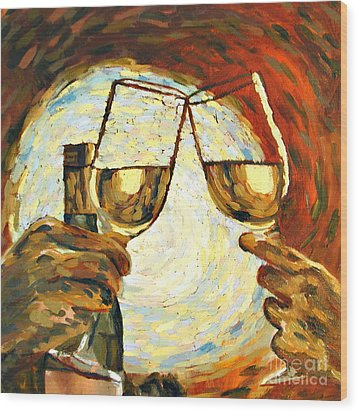 Let's Toast Wood Print by Donna Schaffer