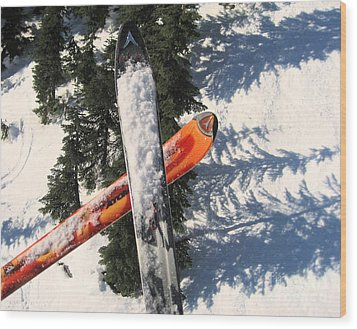 Lets Toast Our Skis Together Wood Print by Kym Backland