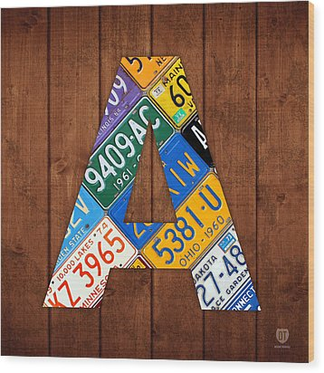 Letter A Alphabet Vintage License Plate Art Wood Print by Design Turnpike