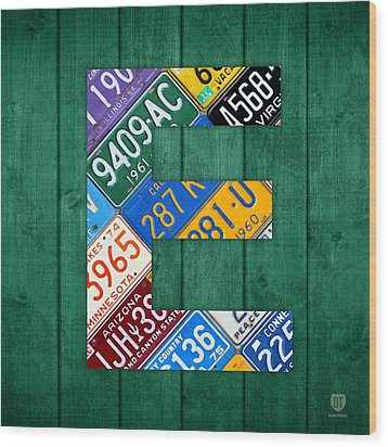 Letter E Alphabet Vintage License Plate Art Wood Print by Design Turnpike