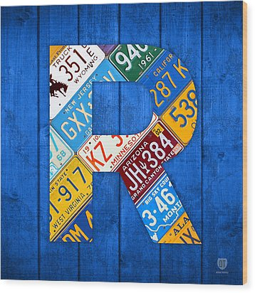 Letter R Alphabet Vintage License Plate Art Wood Print by Design Turnpike