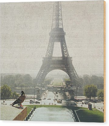 Letters From Trocadero - Paris Wood Print by Lisa Parrish